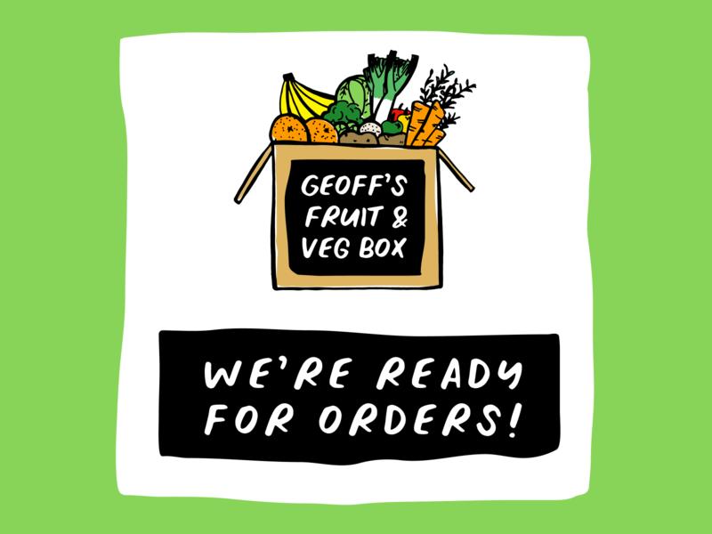 Geoff's Fruit & Veg Box Logo deliveries box greengrocer fruit vegetable rough branding bold illustration logo