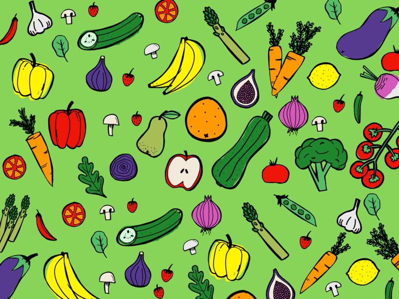 Geoff's Fruit & Veg Box Illustrations vegan veggies box delivery fruit fun abstract hand drawn doodles vegetables bright branding bold illustration