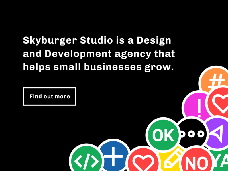 Skyburger Studio Website geometic stickers ui homepage design illustration black branding green bold blue
