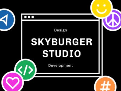 Skyburger Studio design branding pink trendy stickers geometric black fun bright website illustration bold