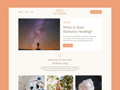Soul Alchemy Website - Blog pretty coral earthy pink avada moon cosmic stars alchemy soul healing feminine website blog