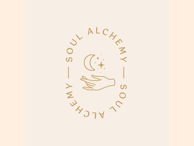 Soul Alchemy Alternative Logo Mark female alchemy soul elegant rekik moon stars hand cosmic healing feminine logo