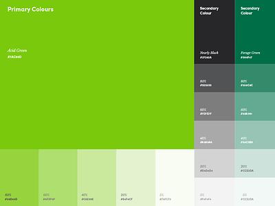 Branding Colours black dark green green tints tones guidelines colour style branding
