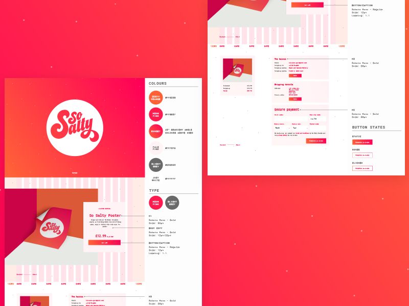 So Salty Website Spec guide notes colours grid handover dev style guide markup spec sheet website