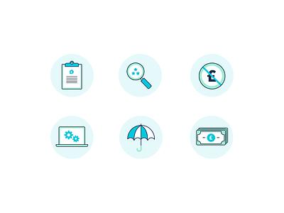 Bespoke Finance Icon Set umbrella custom bespoke blue loan search money finance icons