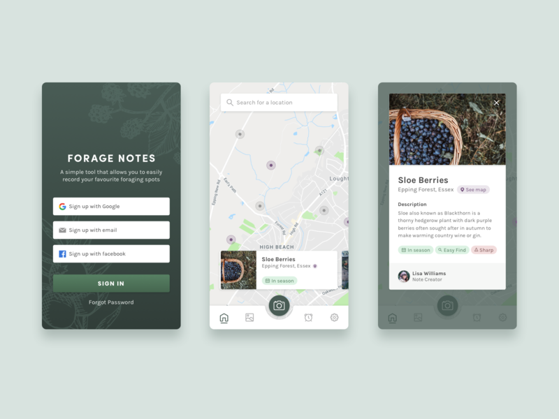 Forage Notes App Screens uxdesign adobexd location ux mobile ui mobile app notes forage green