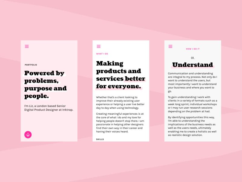 Pink Portfolio contrast bold black cooper black product designer mobile ui pink