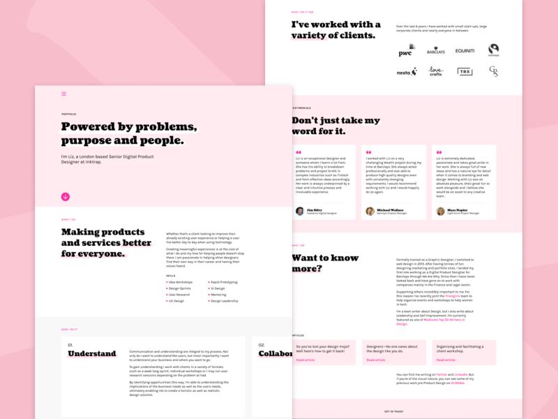 Pink Portfolio Desktop text only wip ux ui website portfolio website single page cooper black coustard contrast portfolio pink desktop