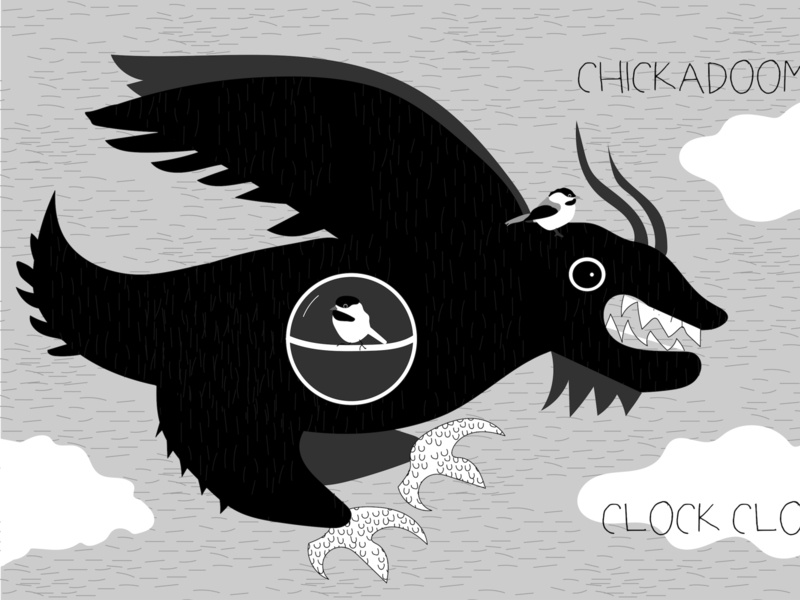 Chickadoom Clock Clock illustration birds weirdart
