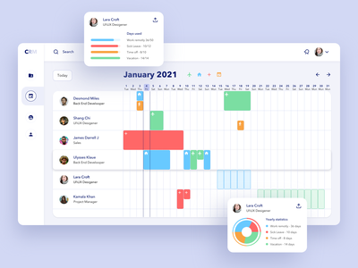 CRM - vacation calendar employees uiux vacation calendar dashboad crm tablet web