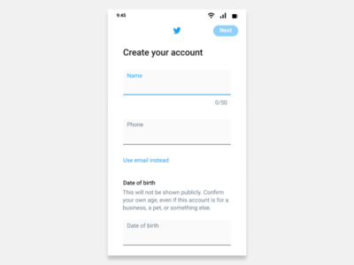 Twitter sign up page app ui design signup page twitter