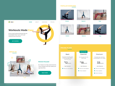 Fitness Website landing page design uiux design website design health exercise fitness