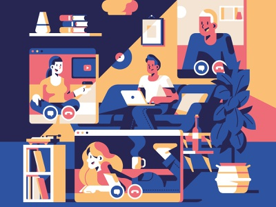 Io resto a casa - Stay home home call working movie conversation stayhome character flat geometric illustration