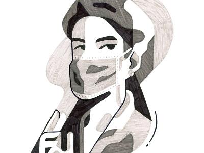 Ita 2020 world italy mask doctor medic portrait illustration geometric character