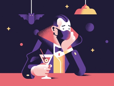 Halloween in lockdown spoon cocktail lockdown party halloween bat dracula character spooky design sail ho studio geometric illustration