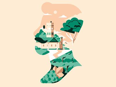 Joseph Wine Label sail ho studio winery vineyard tower town label wine italy colors design flat geometric illustration