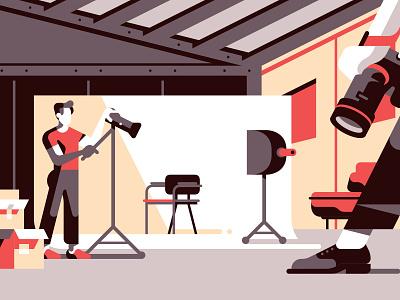 Neferstudio's website illustrations 3 photography box light camera studio colors adobe illustrator black vector design character flat geometric illustration