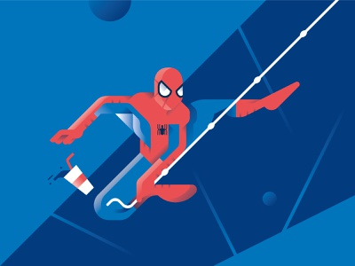 Peter Parker - Spider-Man: Into the Spider-Verse spiderman movie marvel illustration gradient geometric flat character