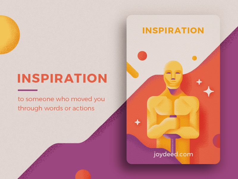 Joydeed - Inspiration tracking gold oscar inspiration positive joydeed code cards