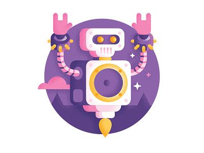 Rocky - Robot rock fire rock robot geometric illustration design