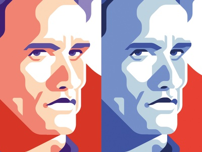 Action Wip movie color palette terminator arnold schwarzenegger portrait flat geometric illustration