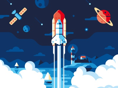 Molo17 - Website illustrations website mountain cloud space shuttle lighthouse flat geometric illustration