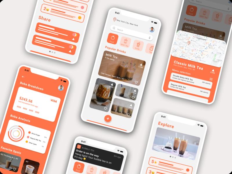 Bubble Tea - iOS Design boba bubble tea design app ui minimal figma design figma clean ui