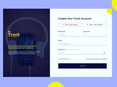 TRACK APP app web ui design