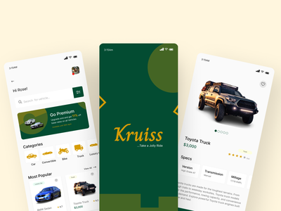 Kruiss - vehicle rental app typography branding logo app ui design