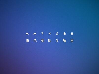 Monochrome icons - 12x12 icons icon monochrome pixel px 12px 16px tiny small ui user interface clean white back next close delete remove refresh lock magnify print printer preview cut scissors copy paste notepad
