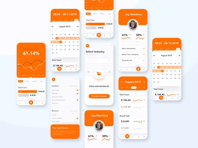 Small Business App graphic outcome onboarding grow engineering increase improve track data indicators business kpi orange minimal typography ux ui concept app flat
