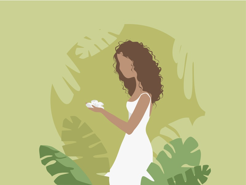 Tropics leaves tropics tropic white dress girl vector illustration