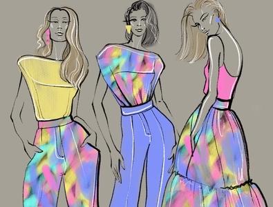 Summer fashion girls pastel color print girls summer portrait art fashion design fashion brand sketch girl illustration fashion sketch illustration graphic arts fashion illustration fashion