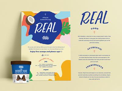 NadaMoo! Share Something Real coconut tshirt vegan icecream truck wrap campaign design handlettering illustration design