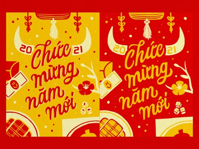 Lunar New Year 2021 banh tet year of the ox 2021 logo chuc mung nam moi lunar new year illustration handlettering lettering design