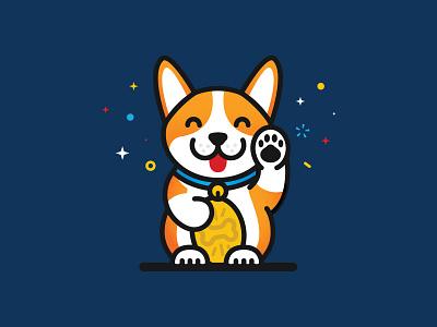 Lucky Corgi enamel pin sticker illustration vector lucky corgi dog neko corgi
