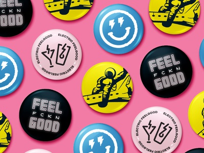 Electric Feelgood Buttons astronaut space design buttons logo illustration