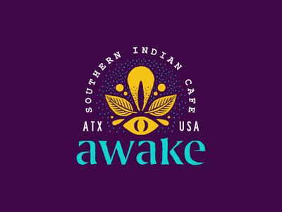 Awake Cafe Logo branding restaurant cafe indian logo type illustration design lettering typography