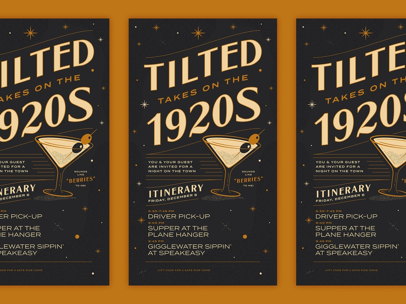 Tilted Holiday 2019 speakeasy martini vector type 1920s illustration design typography