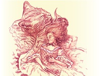 sleeping lady and cat painting design vector illustration