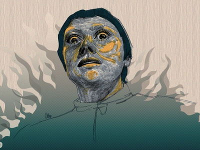Joan of Arc movie art portrait web painting vector illustration