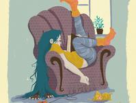 on sofa comics web painting vector illustration