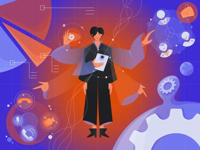 Woman specialist floats next to different software tools message diagram videocall multiple hands multitasking presentation communication space gear infographic feminism cute character character design character gradient illustration geometrical vector minimal flat