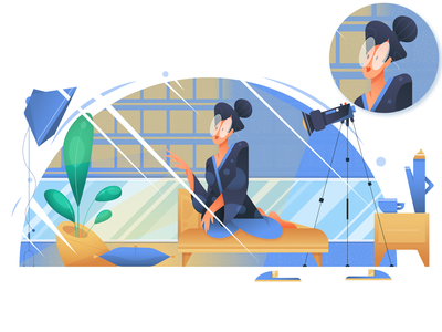Woman preparing a set for filming a vlog traditional clothes girl woman pastel calm youtube filming vlog feminism character plants character design gradient illustration geometrical vector minimal flat