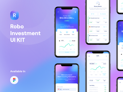 Robo - UI Kit investment interface mobile design uxdesign uidesign designer ui kit uikits financial finance ui8 ux uikit ui stock mobile ios fintech design app