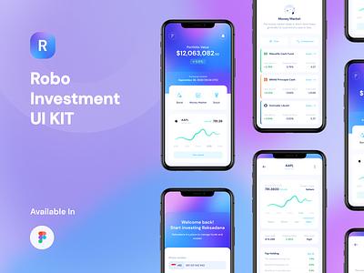 Robo - UI Kit investment interface mobile design uxdesign uidesign designer ui kit uikits financial finance ui8 ux uikit ui stock mobile ios fintech design app