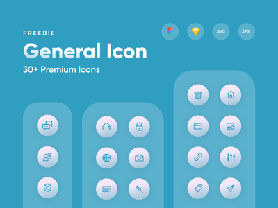 Gently - General Icon Set free uidesign icon set icon pack ui8 graphic design general clean icon