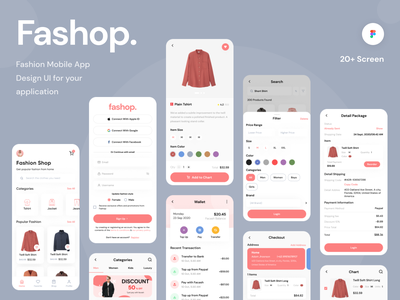 Fashop - UI Kit uniqlo fintech wallet shopping cart fashion uikits ui8 marketplace market uxdesign mobile ios ux uikit uidesign ui design app shop