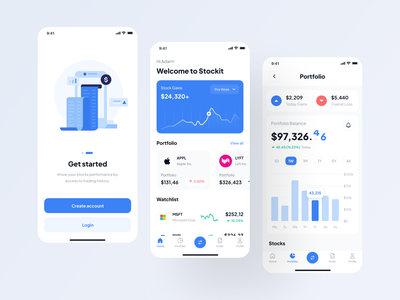 Stockit - UI Kit analytic bank money android ios mobile fintech finance chart investment stock ui8 branding uxdesign ux uikit uidesign ui design app