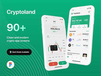 Cryptoland - Crypto Market App UI Kit ui8 finance blockchain money wallet bank trade fintech cryptocurrency bitcoin crypto branding illustration uxdesign ux uikit uidesign ui design app
